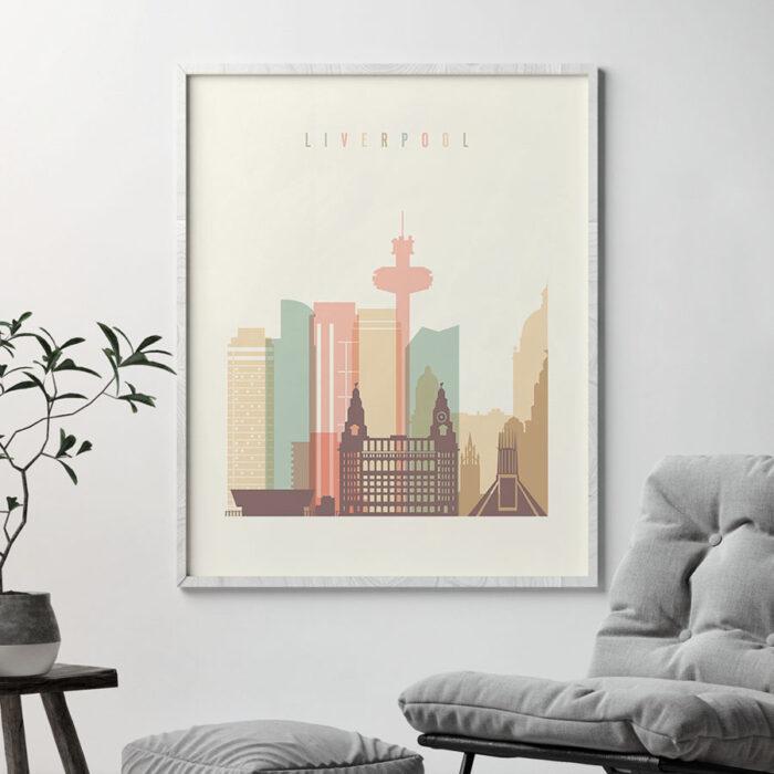 Liverpool art print skyline pastel cream second