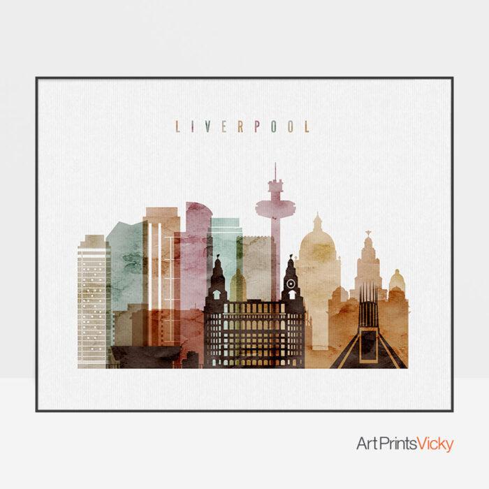Liverpool skyline poster watercolor 1 landscape