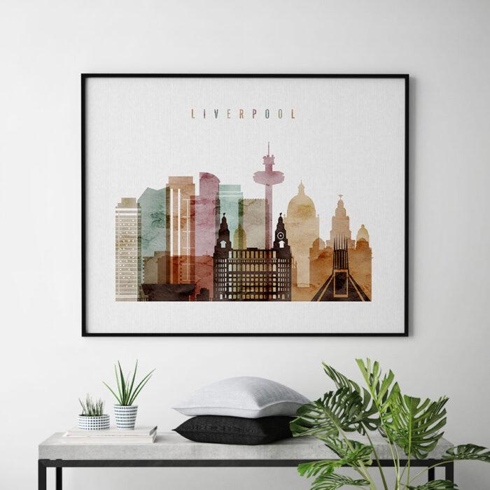Liverpool skyline poster watercolor 1 landscape second