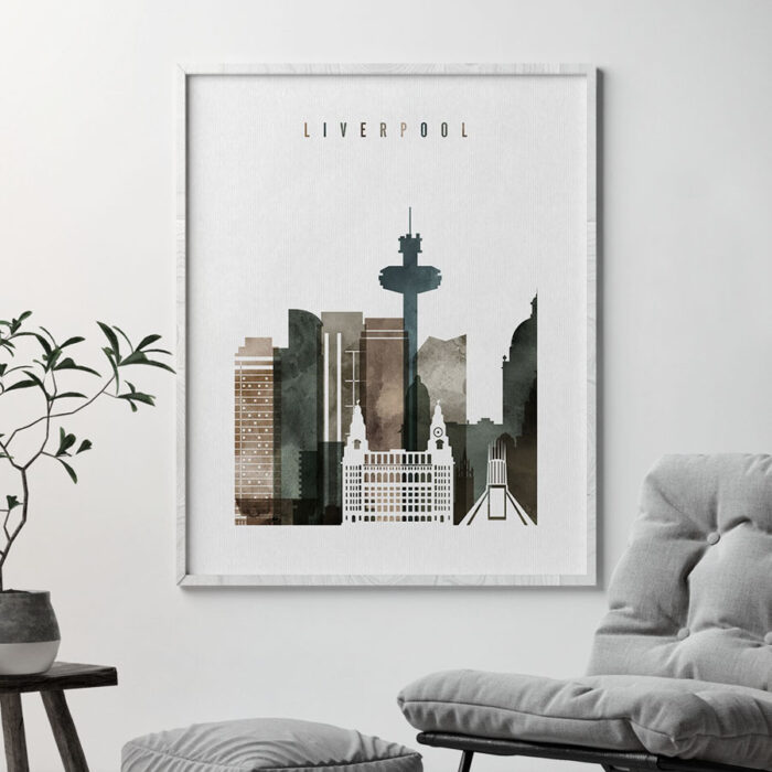 Liverpool skyline print watercolor 2 second