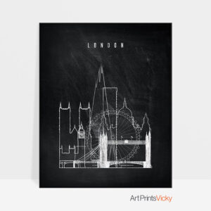 London chalkboard black white skyline print