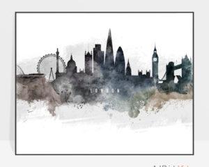 London art poster watercolor