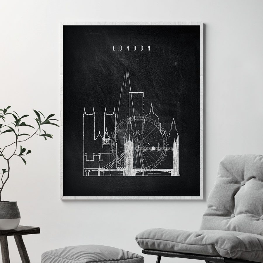 London chalkboard black white skyline print second