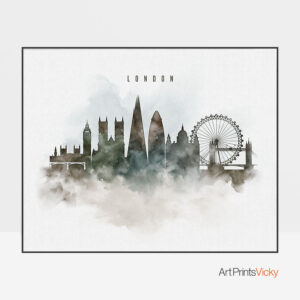 London cityscape print watercolor
