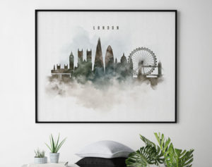 London cityscape print watercolor second