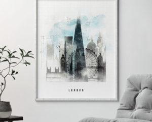 London skyline art print urban second
