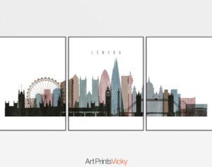 London skyline art set of 3 posters distressed 1