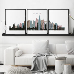 London skyline art set of 3 posters distressed 1 second