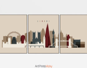 London set of 3 prints skyline earth tones 2