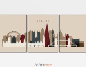 London set of 3 prints skyline earth tones 2