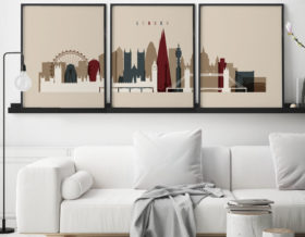 London set of 3 prints skyline earth tones 2 second