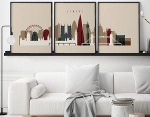 London set of 3 prints skyline earth tones 2 second