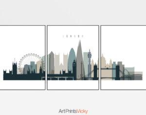 London triptych wall art earth tones 4