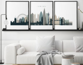 London triptych wall art earth tones 4 second