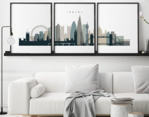 London triptych wall art earth tones 4 second