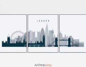 London skyline set of 3 prints grey blue