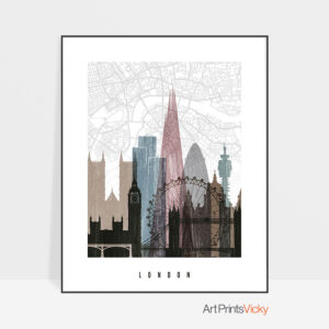London map print poster distressed 1