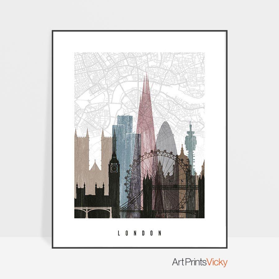 London map print poster distressed 1