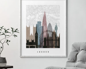 London map print poster distressed 1 second