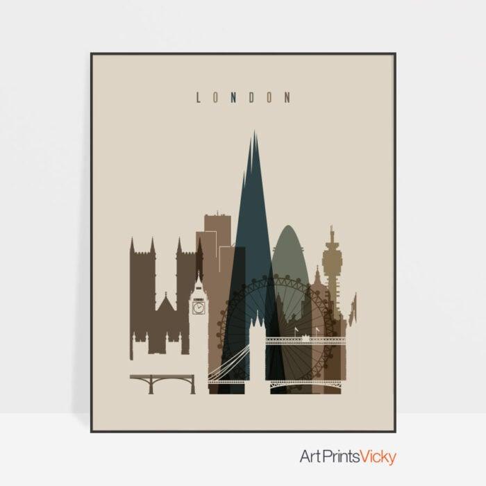 London art print earth tones 3