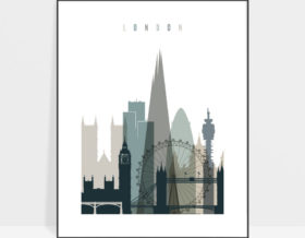 London art print skyline earth tones 4