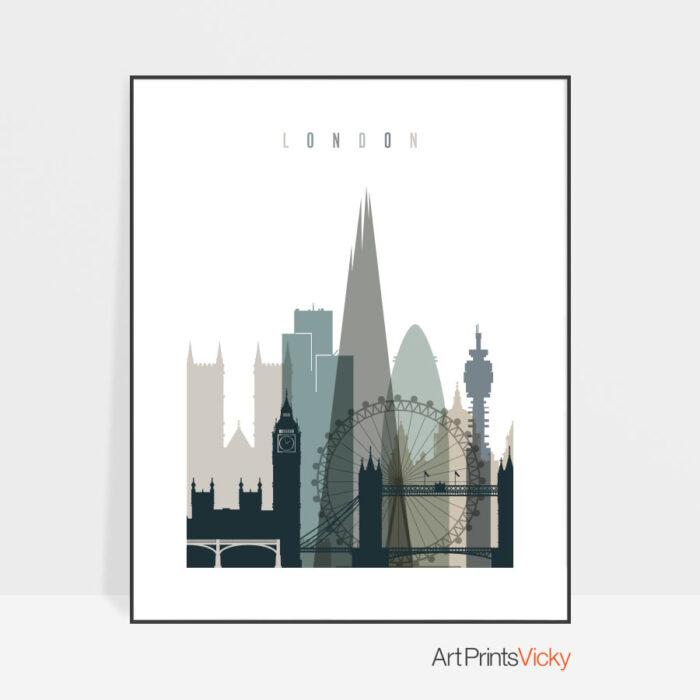 London art print skyline earth tones 4