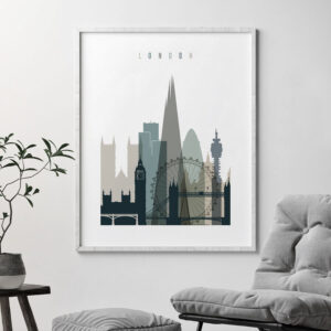 London art print skyline earth tones 4 second