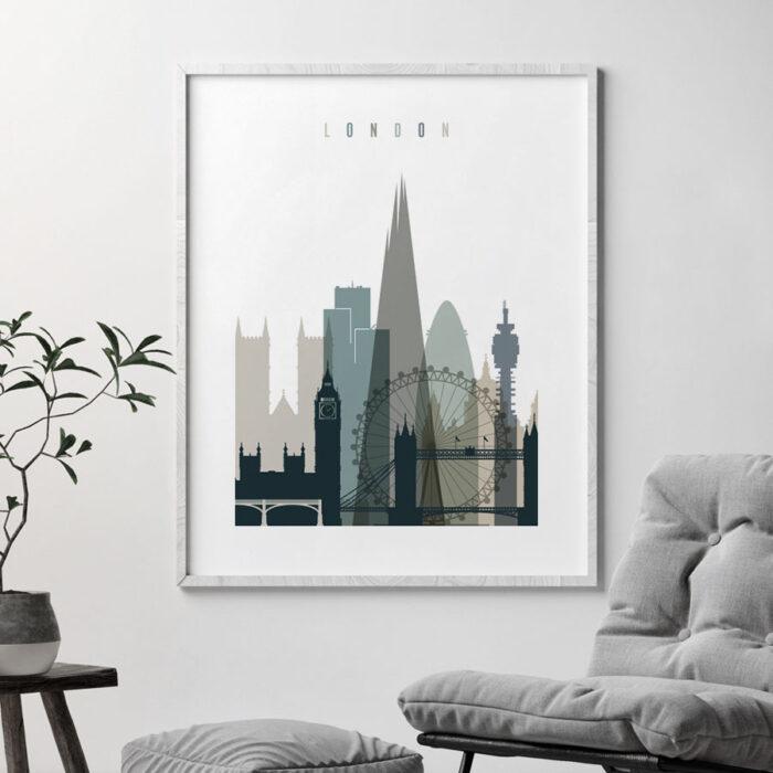 London art print skyline earth tones 4 second