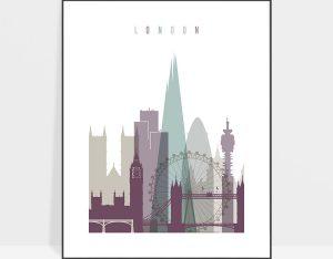 London print skyline pastel 2