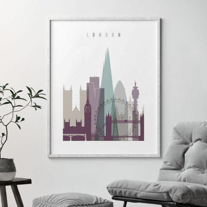 London print skyline pastel 2 second