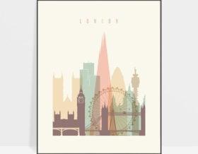London skyline poster pastel cream