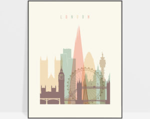 London skyline poster pastel cream
