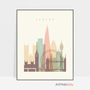 London Skyline Pastel Cream Poster