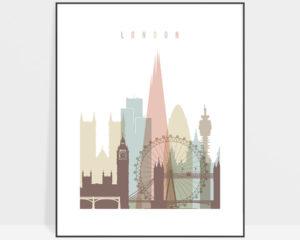London wall art pastel white