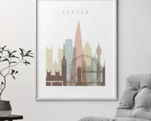 London wall art pastel white second