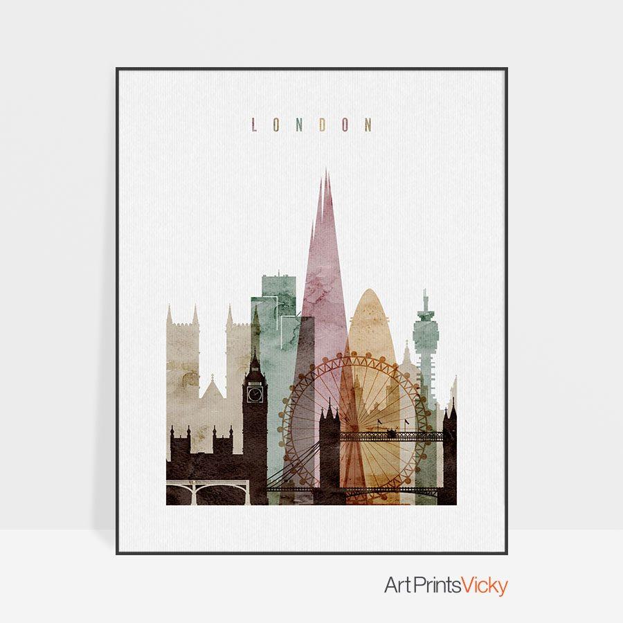 London poster watercolor 1