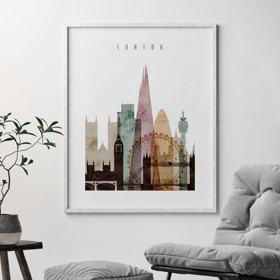 London poster watercolor 1 second