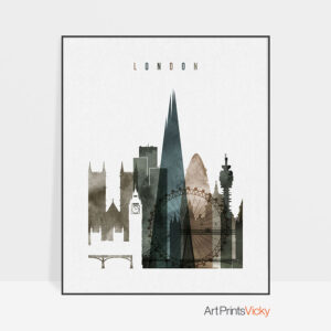 London skyline cityscape art watercolor 2