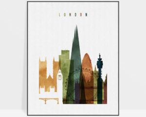 London skyline print watercolor 2