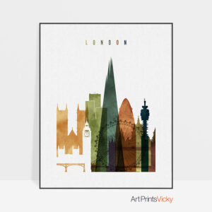 London skyline print watercolor 2