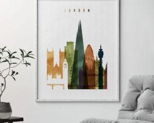 London skyline print watercolor 3 second