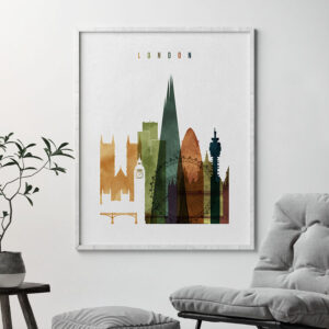 London skyline print watercolor 3 second