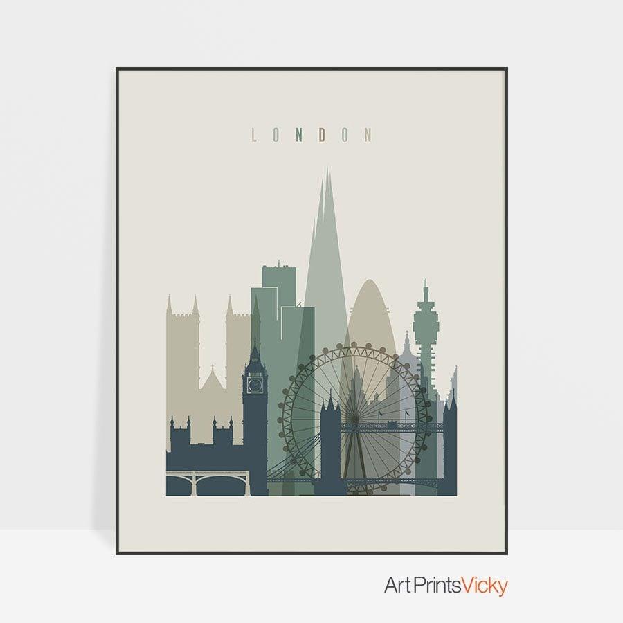 London print skyline earth tones 1