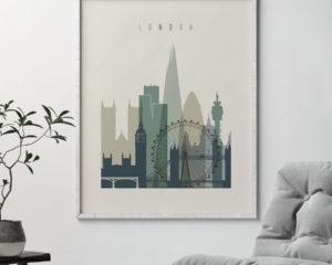 London print skyline earth tones 1 second