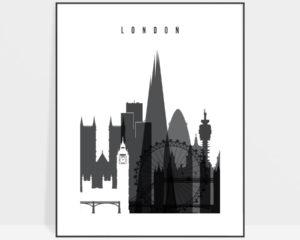London skyline black and white print