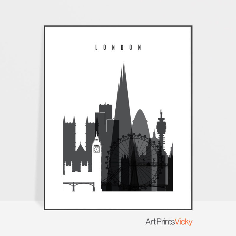 London skyline black and white print