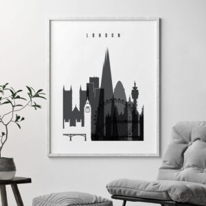 London skyline black and white print second