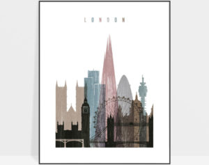 London skyline poster distressed 1