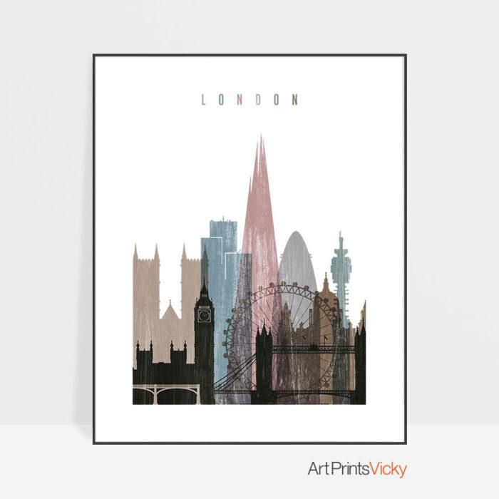 London skyline poster distressed 1