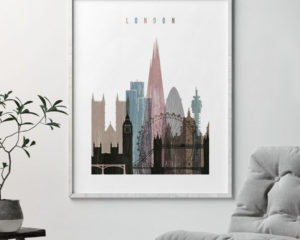 London skyline poster distressed 1 second